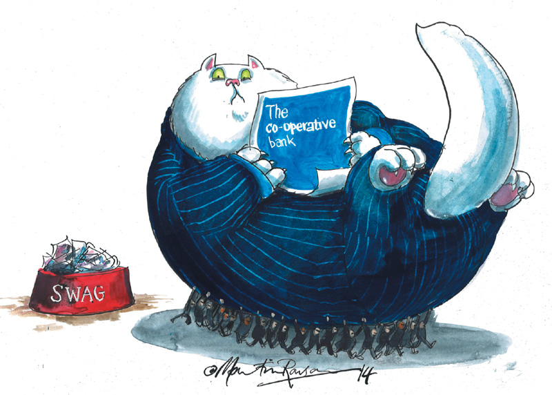 Martin Rowson cartoon - fat cat being removed by lots of little people