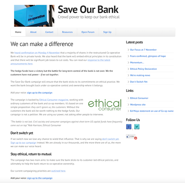 Early Save Our Bank website